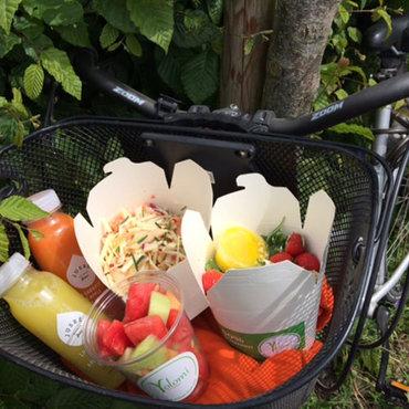 Foodtruck voor gezonde gerechten, vegetarisch en niet, een picknick in de zon